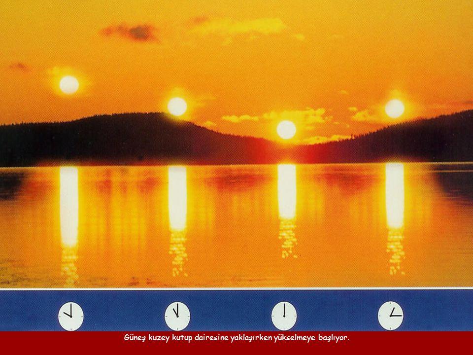 Güneş kuzey kutup dairesine yaklaşırken yükselmeye başlıyor.