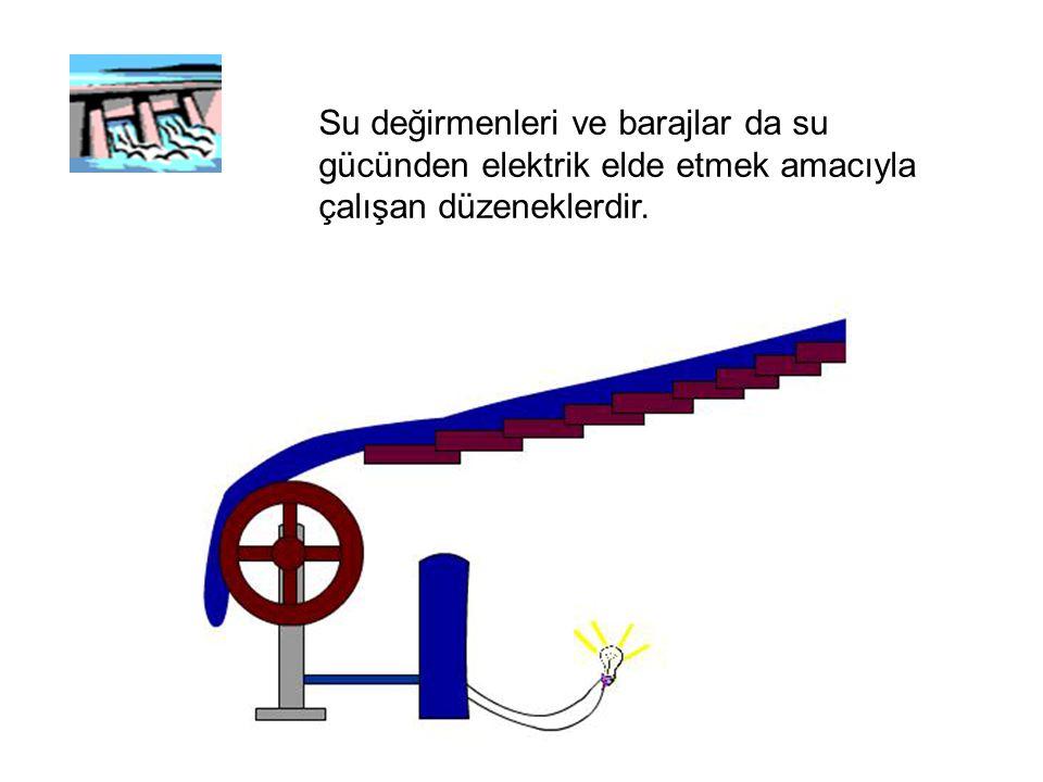 Su değirmenleri ve barajlar da su gücünden elektrik elde etmek amacıyla çalışan düzeneklerdir.