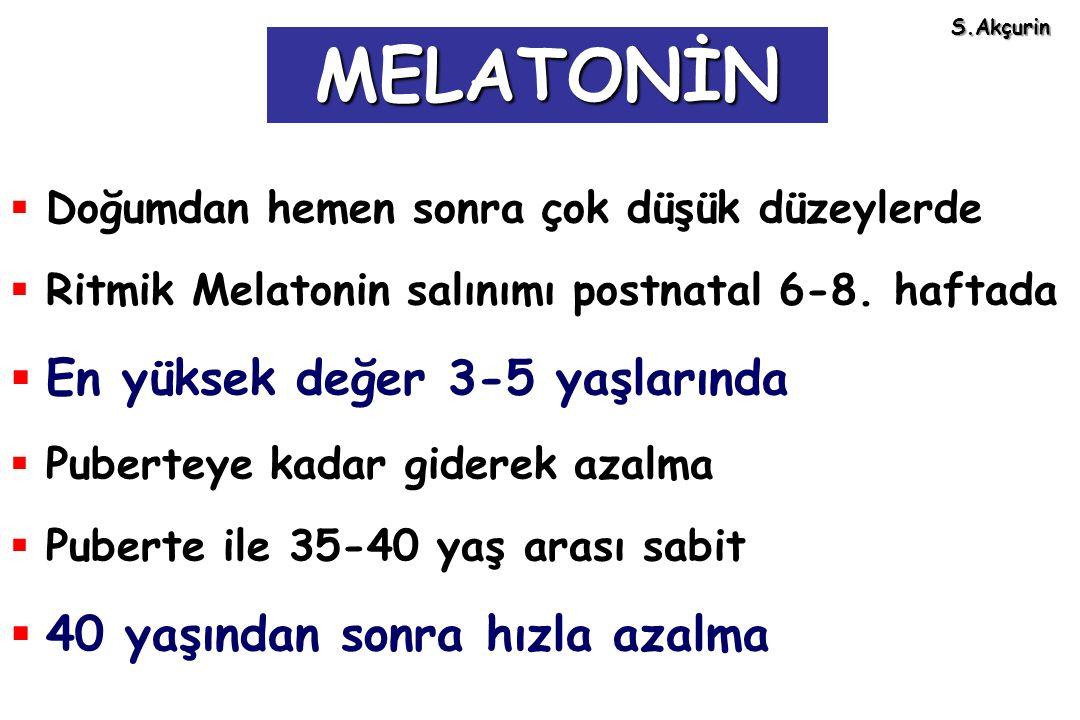 MELATONİN En yüksek değer 3-5 yaşlarında