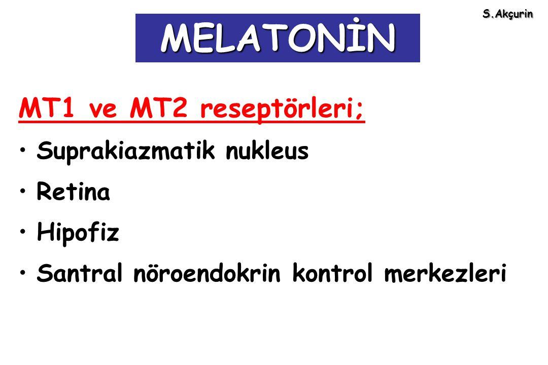 MELATONİN MT1 ve MT2 reseptörleri; Suprakiazmatik nukleus Retina