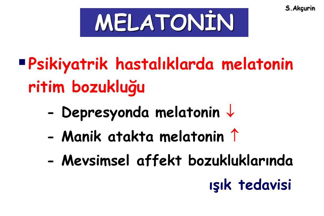 MELATONİN Psikiyatrik hastalıklarda melatonin ritim bozukluğu