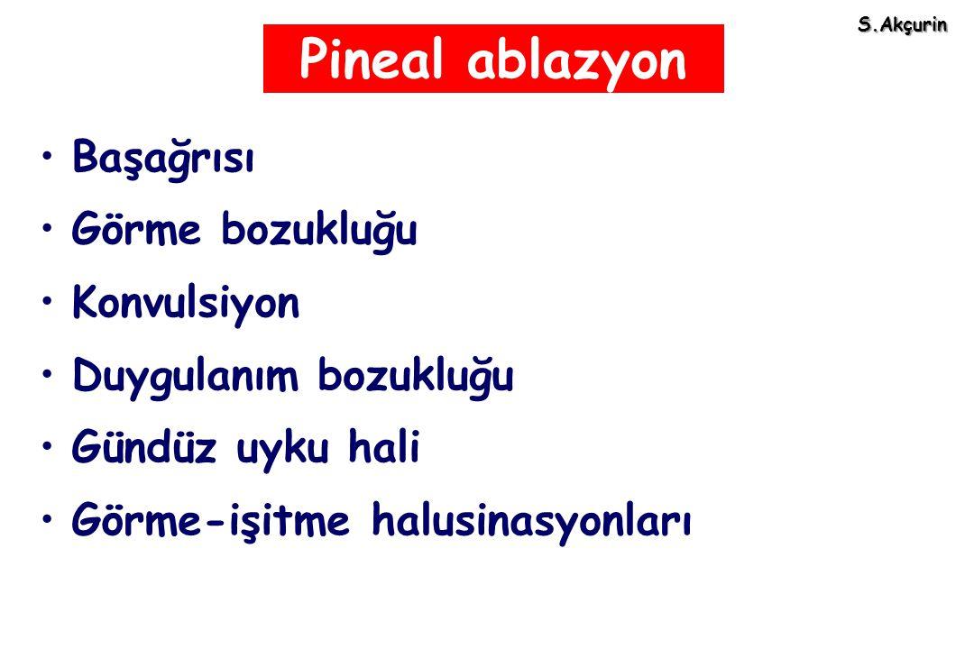 Pineal ablazyon Başağrısı Görme bozukluğu Konvulsiyon