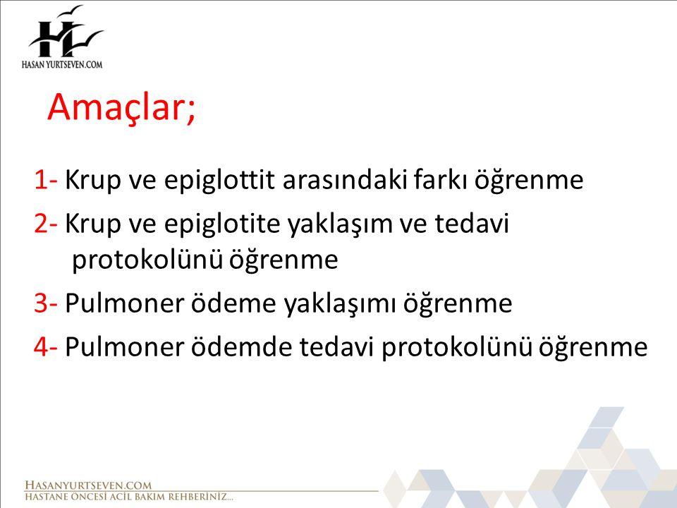 Amaçlar; 1- Krup ve epiglottit arasındaki farkı öğrenme