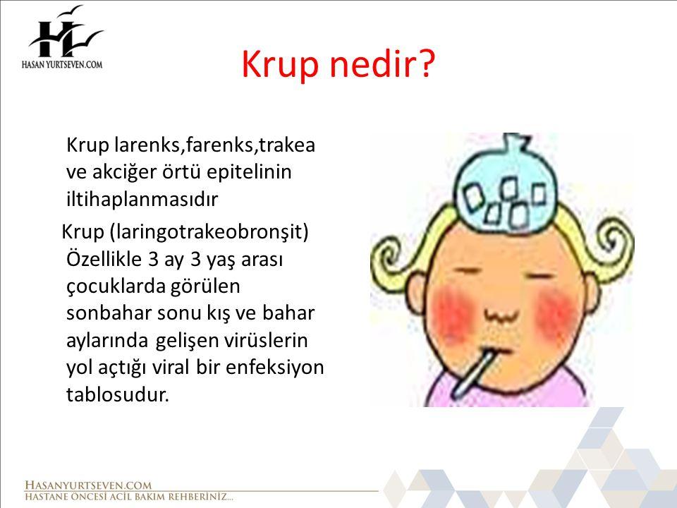 Krup nedir Krup larenks,farenks,trakea ve akciğer örtü epitelinin iltihaplanmasıdır.