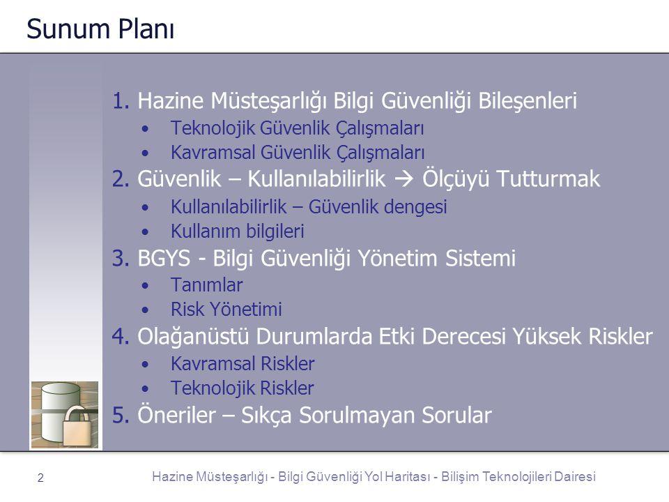 Sunum Planı 1. Hazine Müsteşarlığı Bilgi Güvenliği Bileşenleri