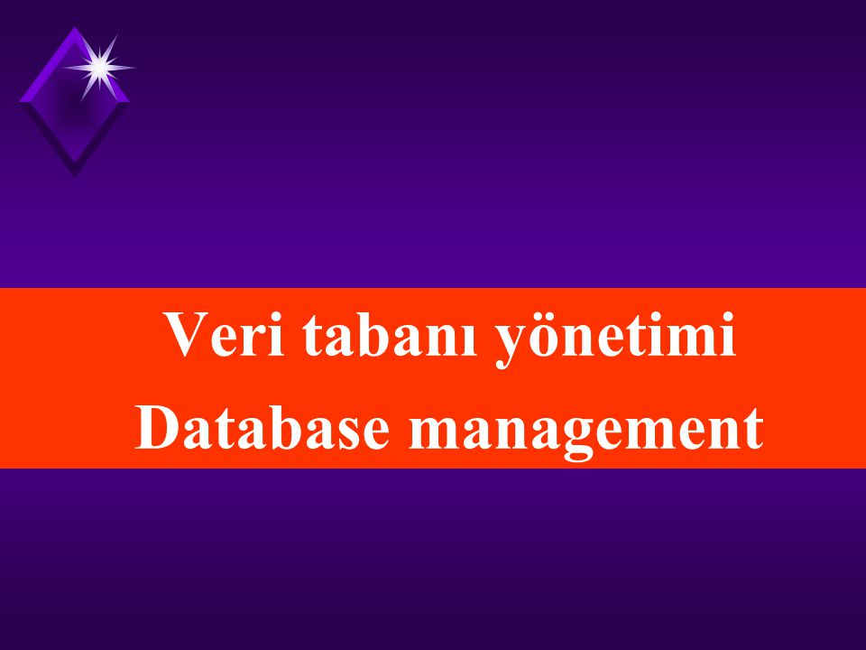Veri tabanı yönetimi Database management