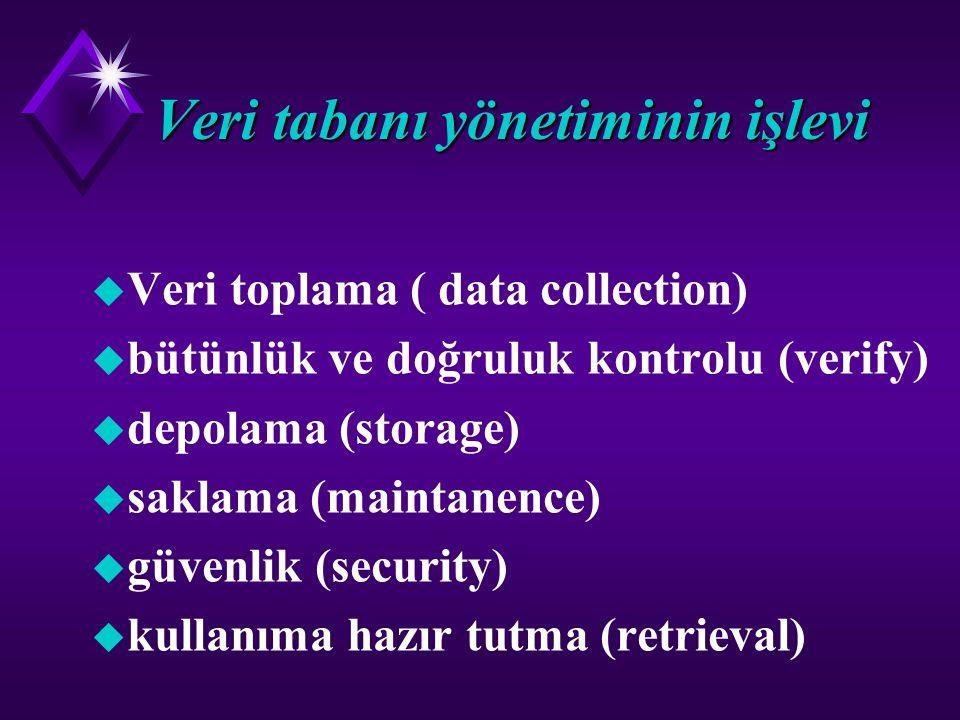 Veri tabanı yönetiminin işlevi