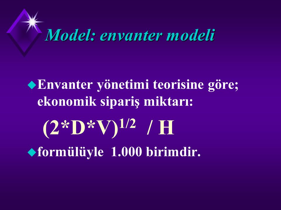 Model: envanter modeli