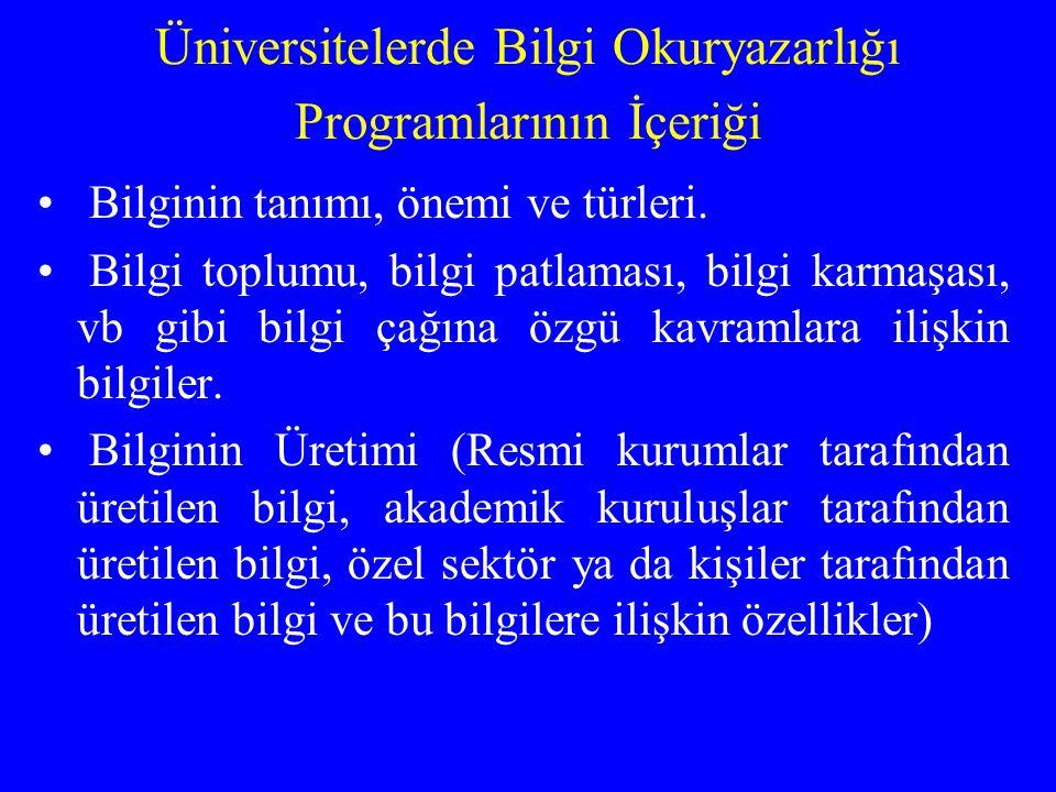 Üniversitelerde Bilgi Okuryazarlığı Programlarının İçeriği