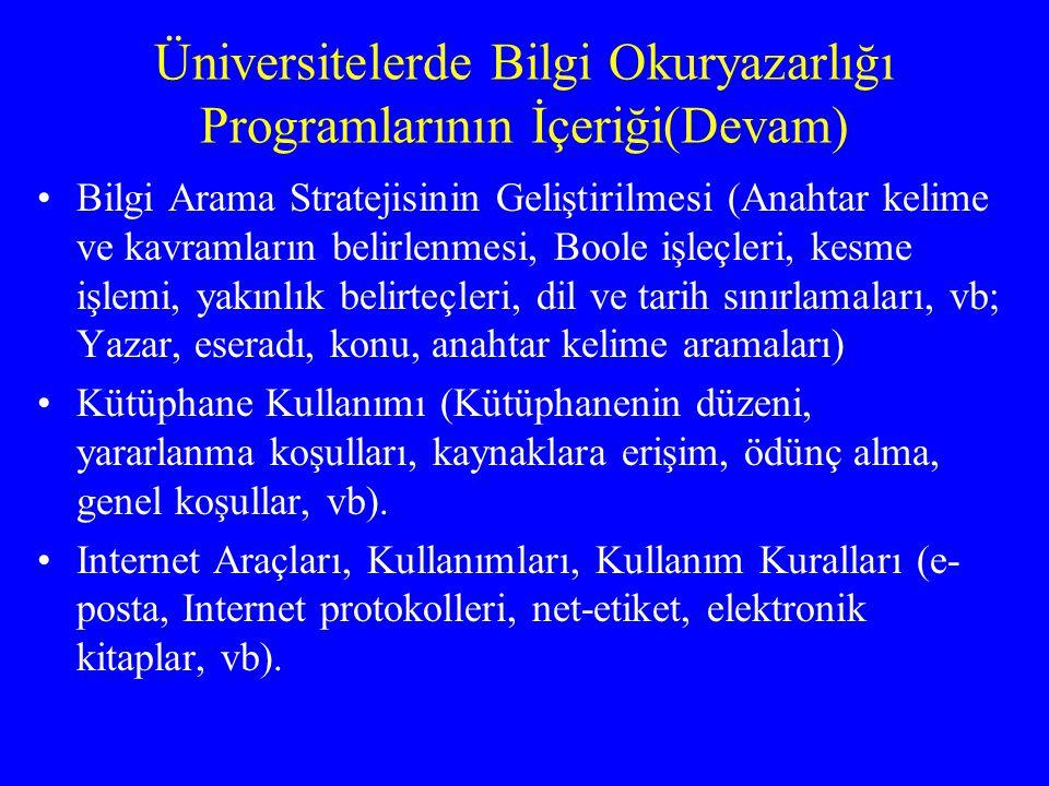 Üniversitelerde Bilgi Okuryazarlığı Programlarının İçeriği(Devam)