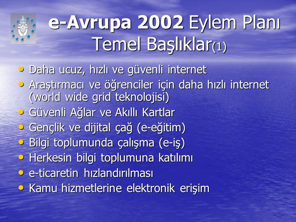e-Avrupa 2002 Eylem Planı Temel Başlıklar(1)