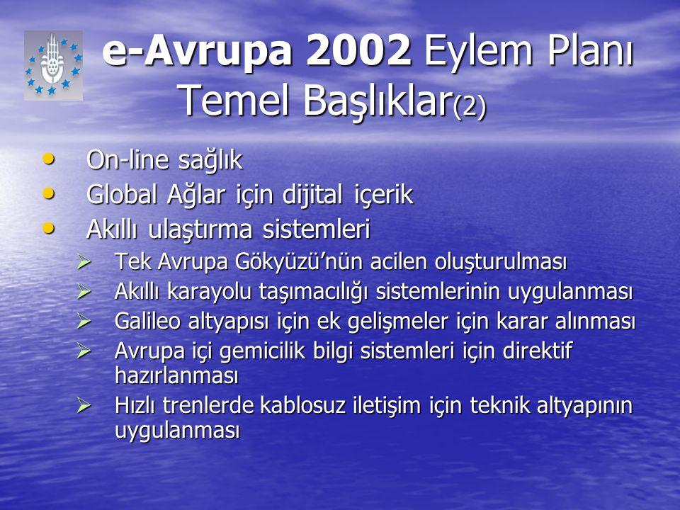 e-Avrupa 2002 Eylem Planı Temel Başlıklar(2)