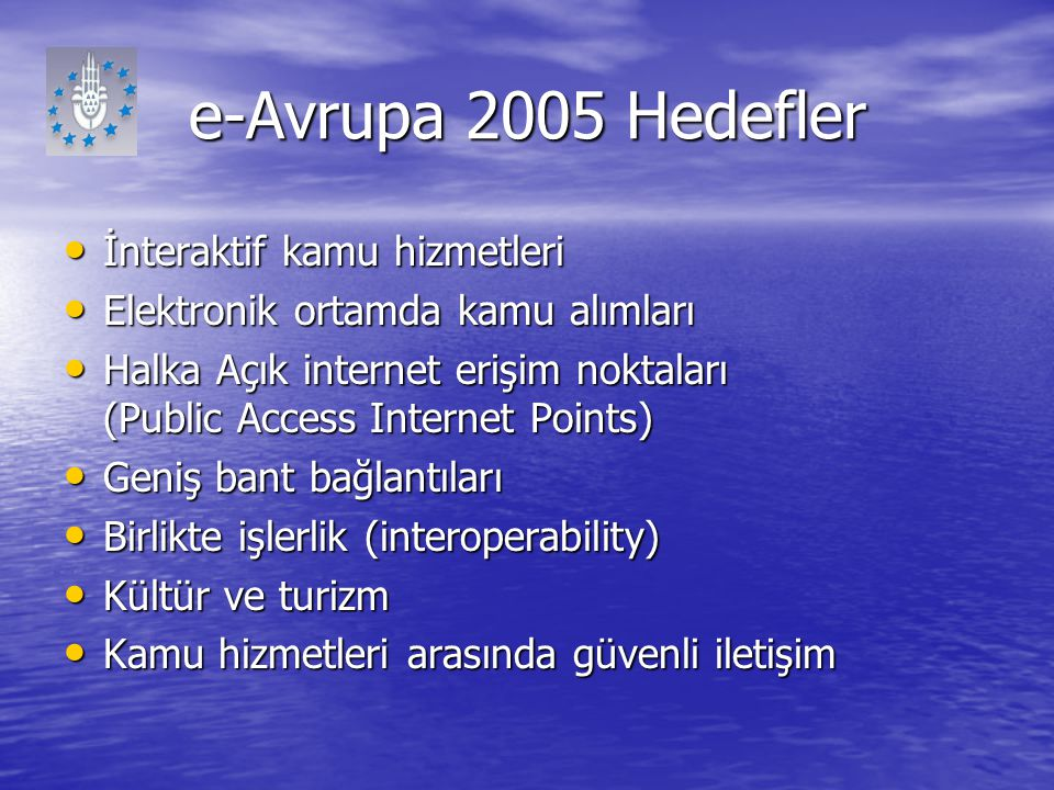 e-Avrupa 2005 Hedefler İnteraktif kamu hizmetleri