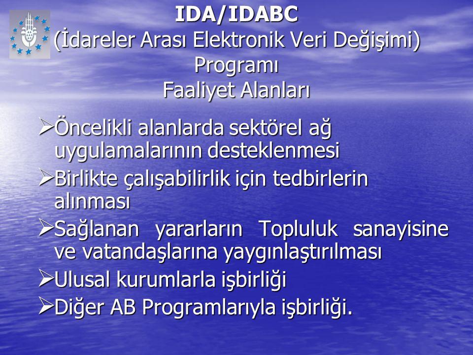 IDA/IDABC (İdareler Arası Elektronik Veri Değişimi) Programı Faaliyet Alanları