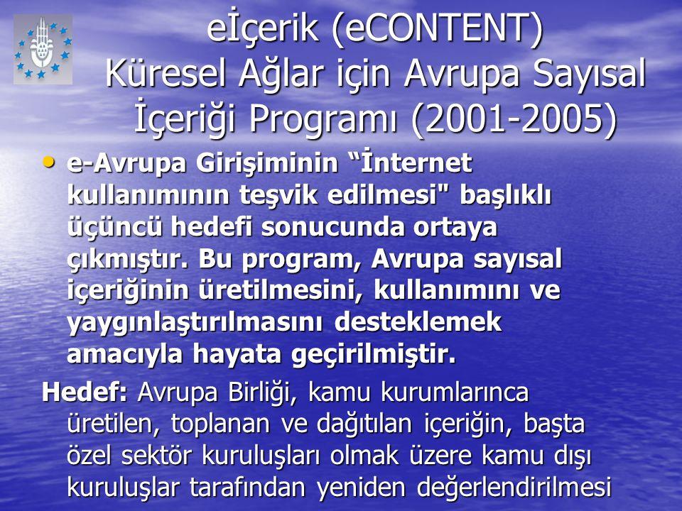 eİçerik (eCONTENT) Küresel Ağlar için Avrupa Sayısal İçeriği Programı (2001-2005)
