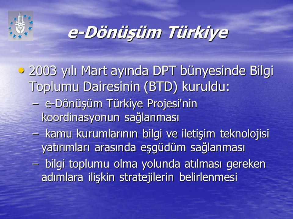 e-Dönüşüm Türkiye 2003 yılı Mart ayında DPT bünyesinde Bilgi Toplumu Dairesinin (BTD) kuruldu: