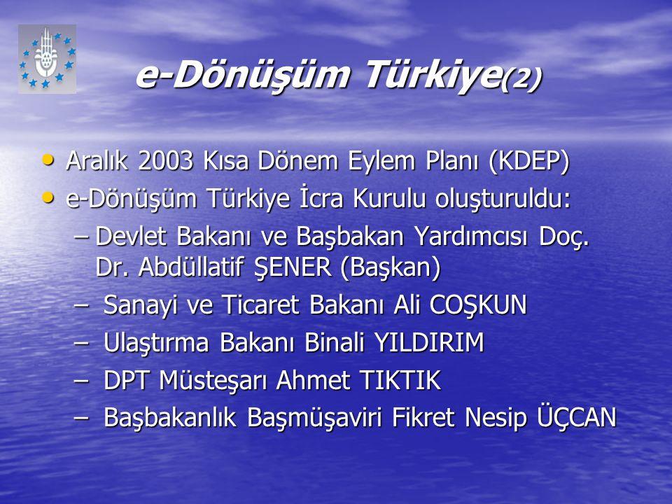 e-Dönüşüm Türkiye(2) Aralık 2003 Kısa Dönem Eylem Planı (KDEP)