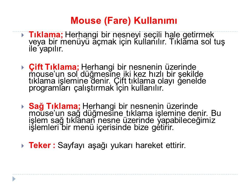 Mouse (Fare) Kullanımı