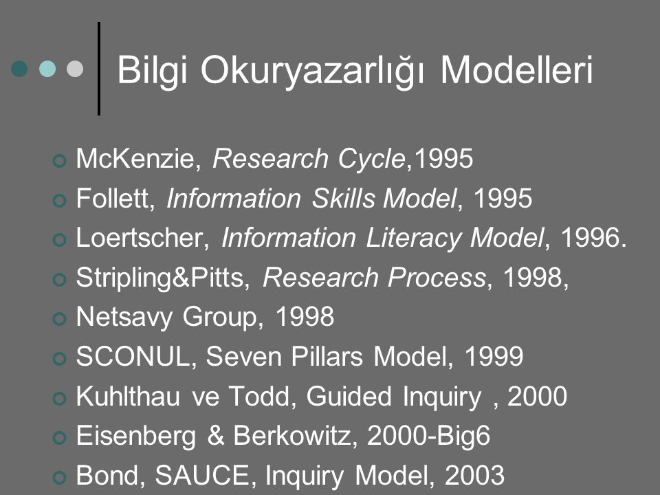 Bilgi Okuryazarlığı Modelleri