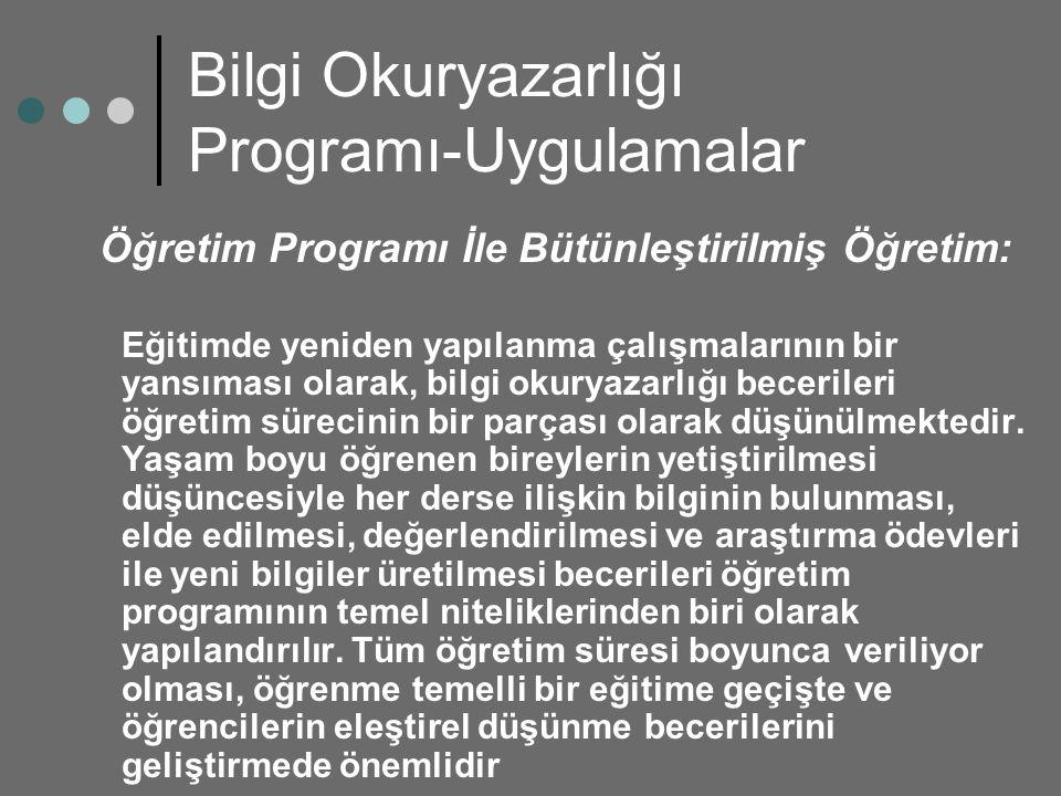 Bilgi Okuryazarlığı Programı-Uygulamalar