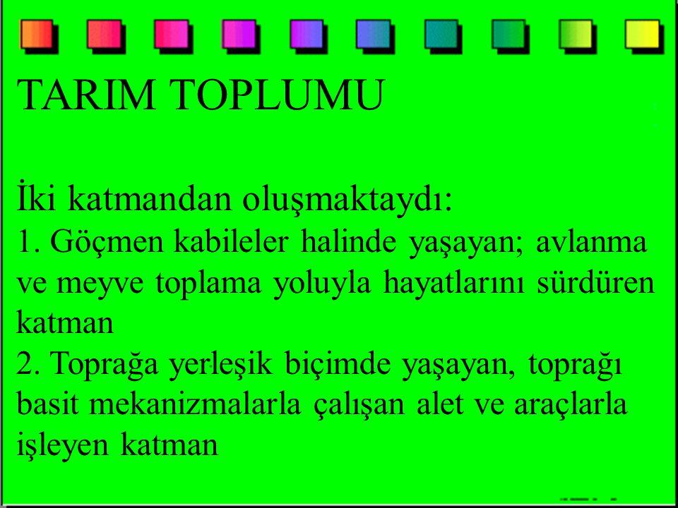 TARIM TOPLUMU İki katmandan oluşmaktaydı: