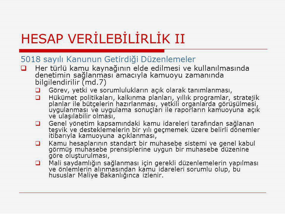 HESAP VERİLEBİLİRLİK II
