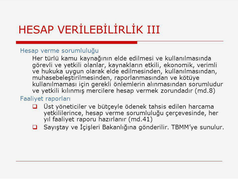 HESAP VERİLEBİLİRLİK III