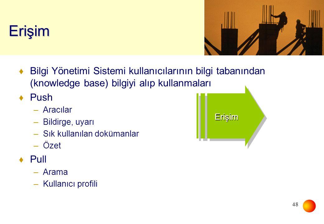 Erişim Bilgi Yönetimi Sistemi kullanıcılarının bilgi tabanından (knowledge base) bilgiyi alıp kullanmaları.