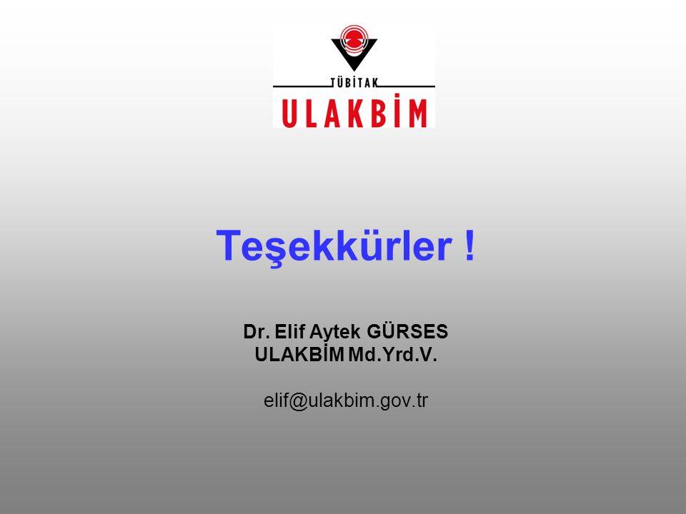 Teşekkürler. Dr. Elif Aytek GÜRSES ULAKBİM Md. Yrd. V. elif@ulakbim