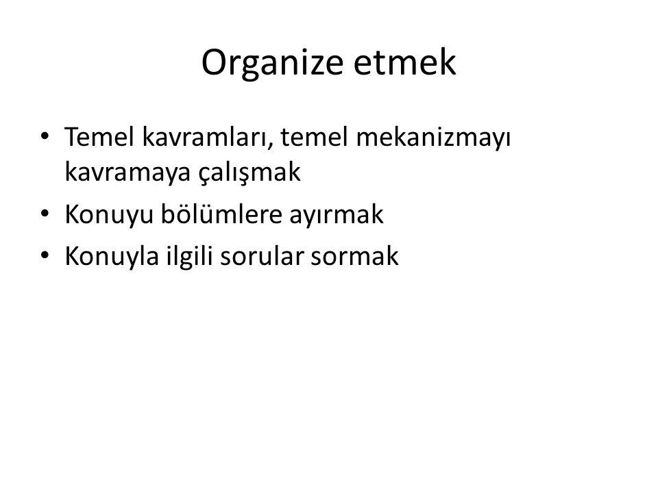 Organize etmek Temel kavramları, temel mekanizmayı kavramaya çalışmak