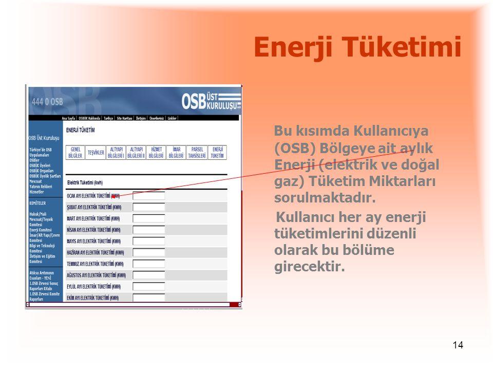 Enerji Tüketimi Bu kısımda Kullanıcıya (OSB) Bölgeye ait aylık Enerji (elektrik ve doğal gaz) Tüketim Miktarları sorulmaktadır.