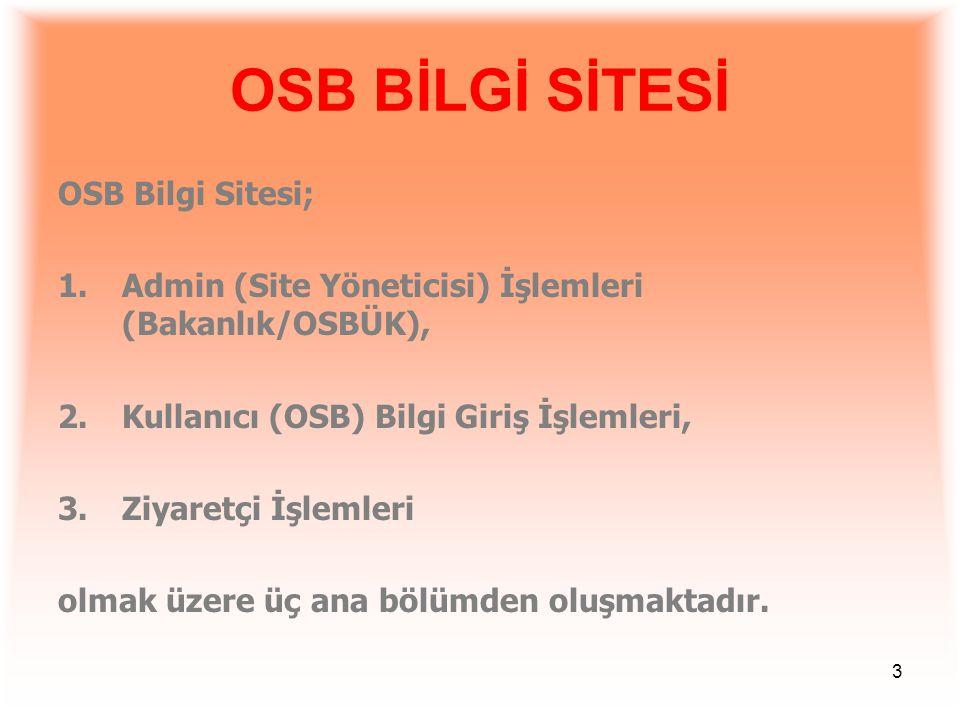 OSB BİLGİ SİTESİ OSB Bilgi Sitesi;