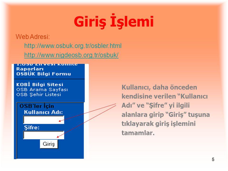 Giriş İşlemi Web Adresi: http://www.osbuk.org.tr/osbler.html