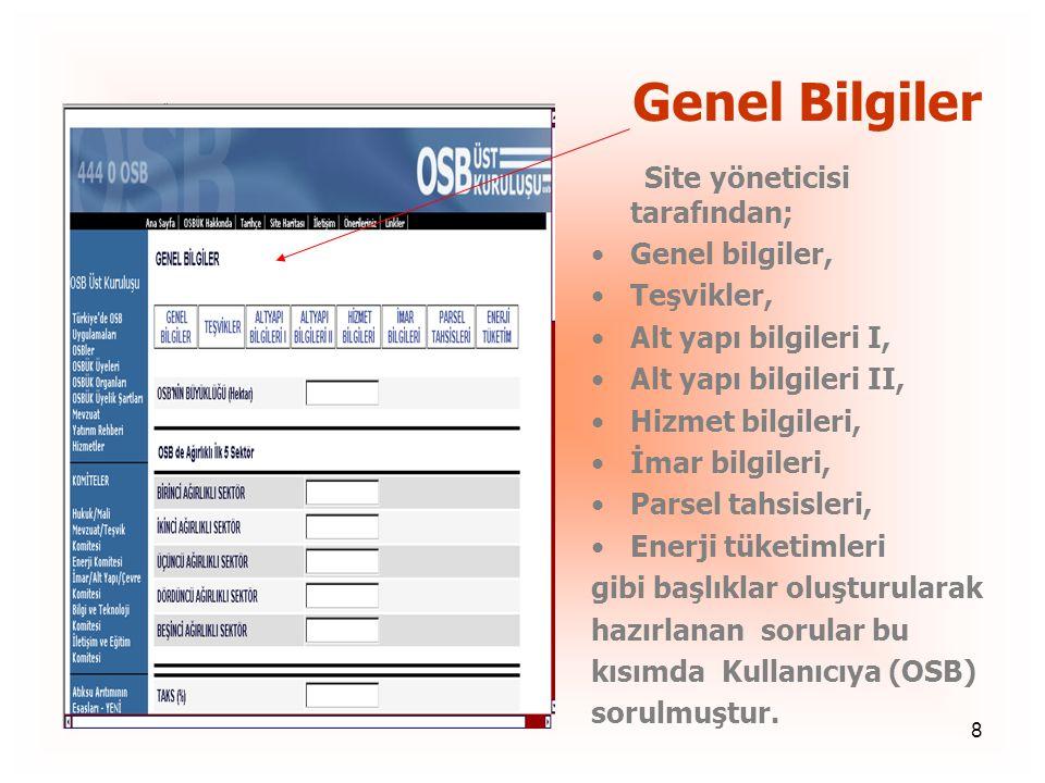 Genel Bilgiler Genel bilgiler, Teşvikler, Alt yapı bilgileri I,