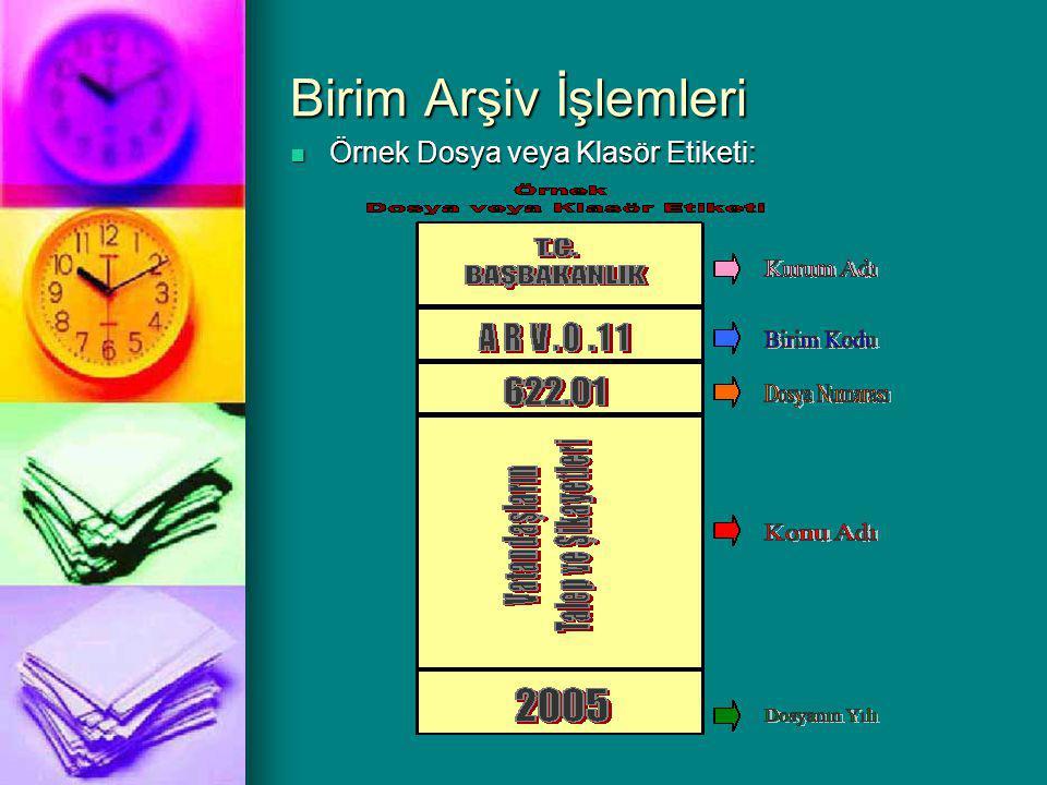 Birim Arşiv İşlemleri Örnek Dosya veya Klasör Etiketi: