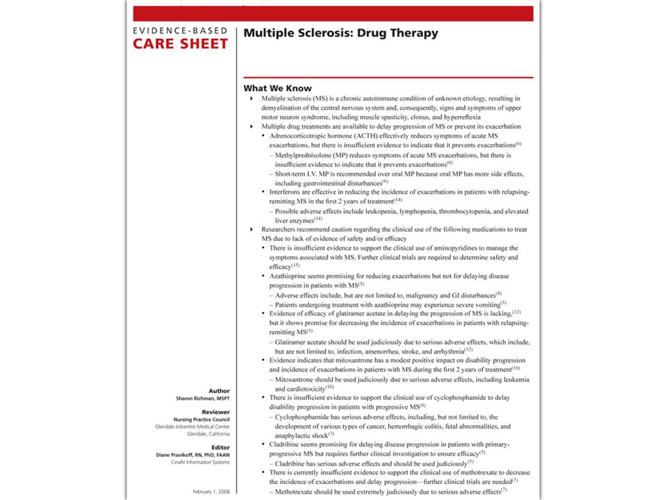 The Evidence Based Care Sheet summarizes available evidence for treatment of a condition.