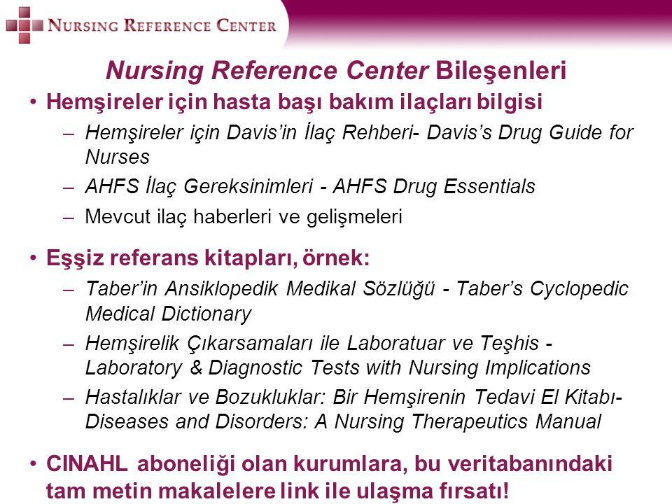 Nursing Reference Center Bileşenleri