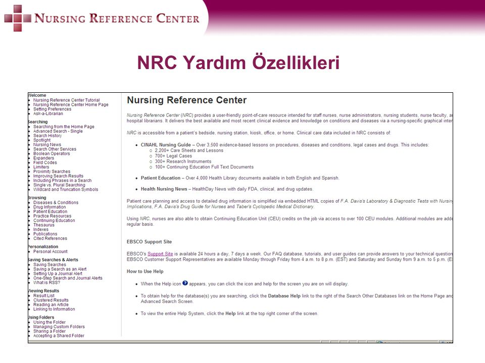 NRC Yardım Özellikleri