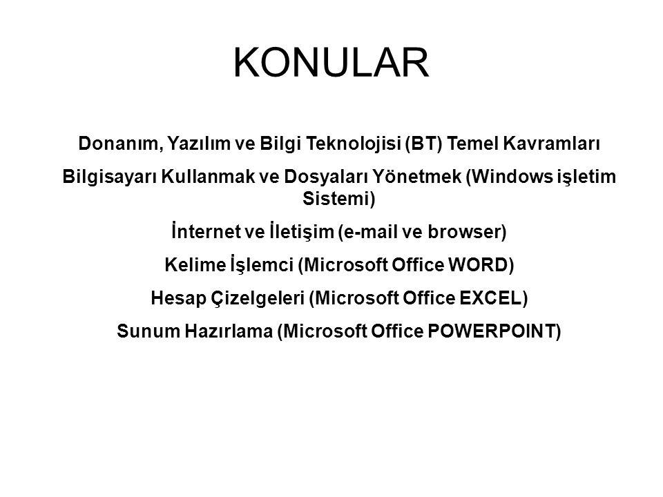 KONULAR Donanım, Yazılım ve Bilgi Teknolojisi (BT) Temel Kavramları
