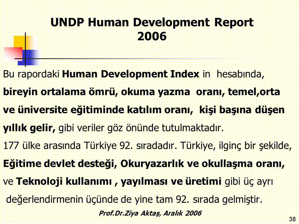 UNDP Human Development Report 2006 Prof.Dr.Ziya Aktaş, Aralık 2006
