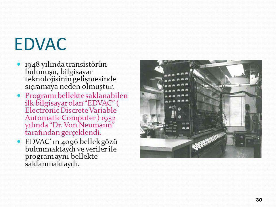 EDVAC 1948 yılında transistörün bulunuşu, bilgisayar teknolojisinin gelişmesinde sıçramaya neden olmuştur.