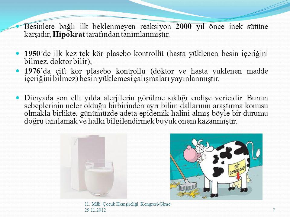 Besinlere bağlı ilk beklenmeyen reaksiyon 2000 yıl önce inek sütüne karşıdır, Hipokrat tarafından tanımlanmıştır.