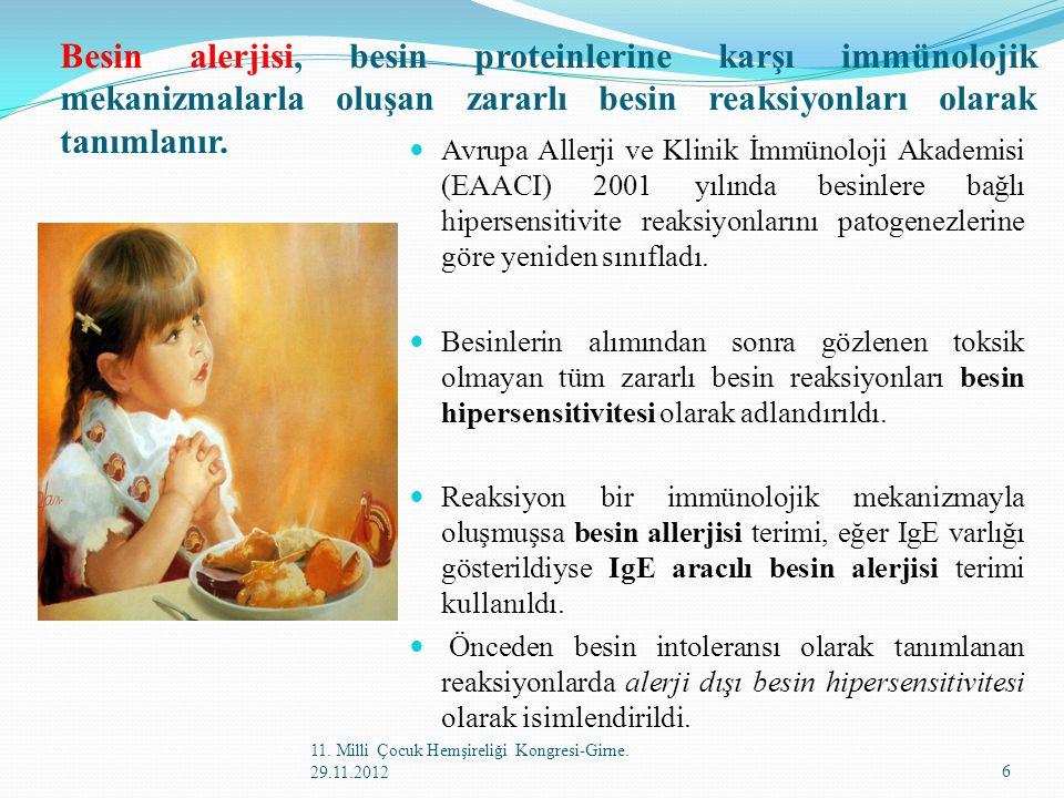 Besin alerjisi, besin proteinlerine karşı immünolojik mekanizmalarla oluşan zararlı besin reaksiyonları olarak tanımlanır.