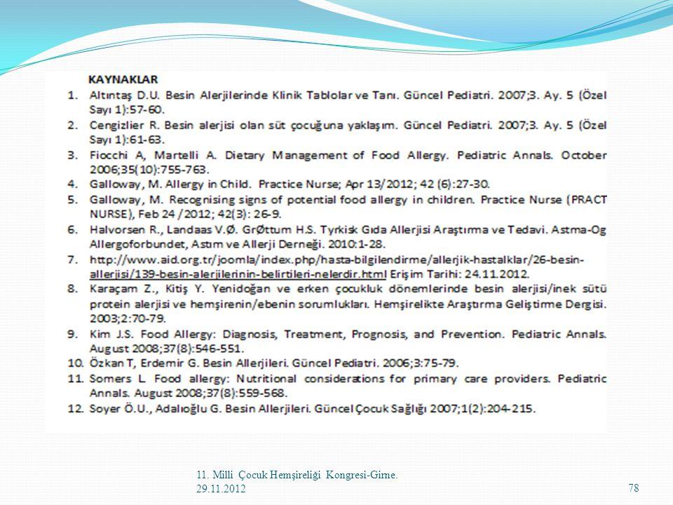 11. Milli Çocuk Hemşireliği Kongresi-Girne. 29.11.2012