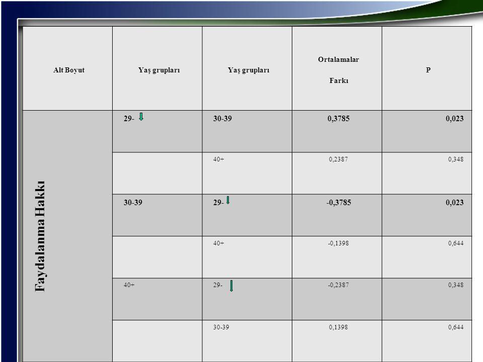 Faydalanma Hakkı 29- 30-39 0,3785 0,023 -0,3785 Alt Boyut Yaş grupları
