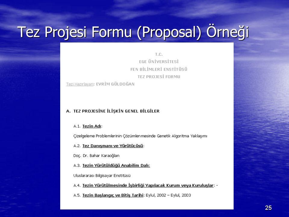 Tez Projesi Formu (Proposal) Örneği