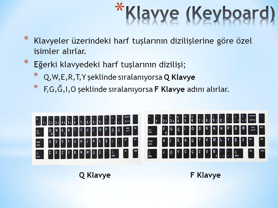 Klavye (Keyboard) Klavyeler üzerindeki harf tuşlarının dizilişlerine göre özel isimler alırlar. Eğerki klavyedeki harf tuşlarının dizilişi;