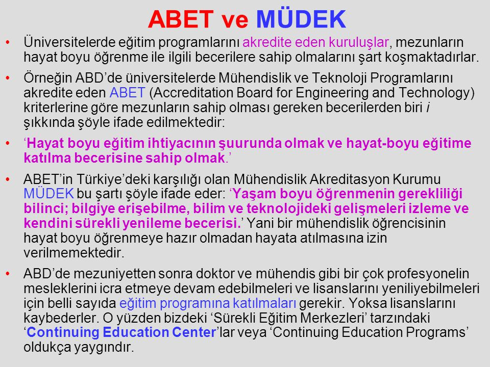 ABET ve MÜDEK