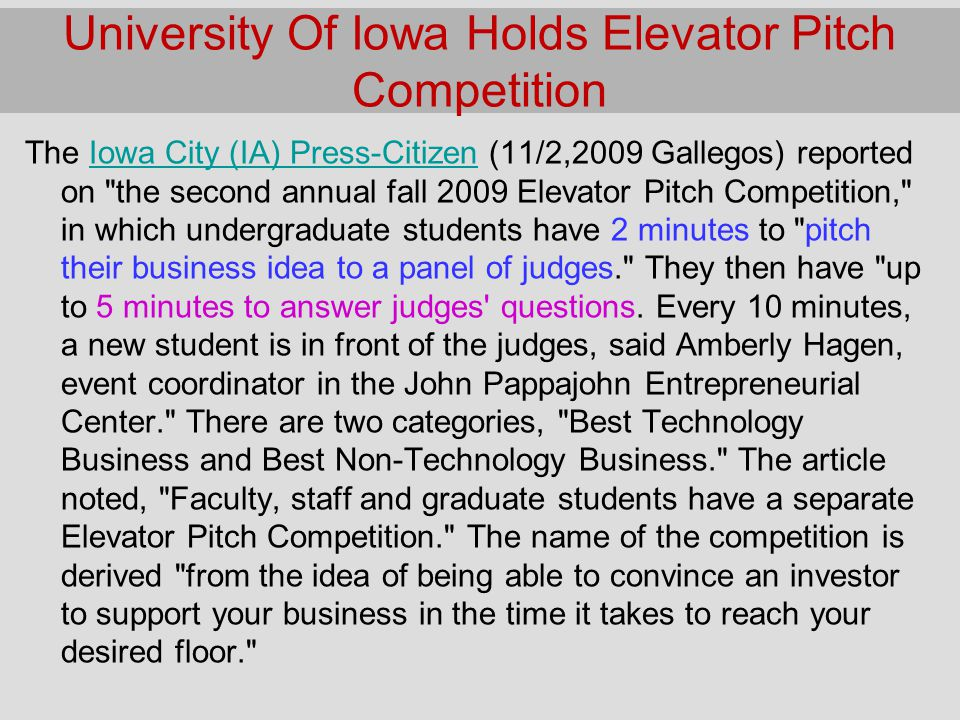 University Of Iowa Holds Elevator Pitch Competition