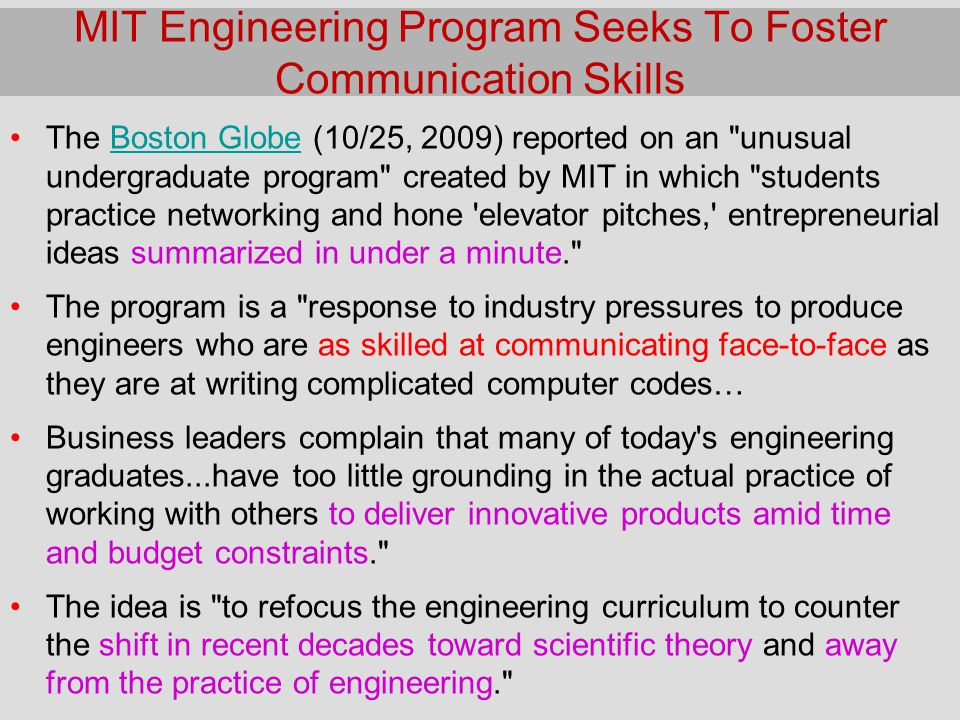 MIT Engineering Program Seeks To Foster Communication Skills
